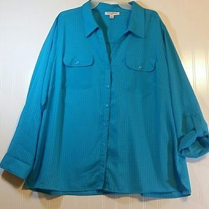 NWOT Studiio Works Turquoise 3X Button up Shirt
